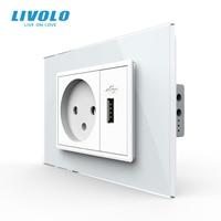 Livolo-toma de corriente de pared de 16A, enchufe con cargador USB de 2,1 A, Panel de cristal, Israel