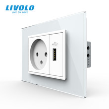 Livolo Israel 16A Wall Power Socket with 2.1 A USB Charger , Crystal Glass Panel