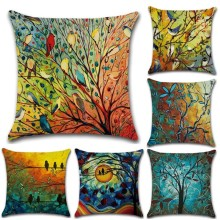 45*45cm Art Painting oil Birds Pillow Case Linen Soft Cushion Cover for Decoration Car Sofa Home Pillow Case