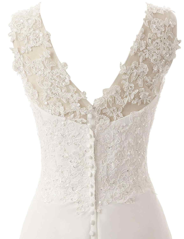 חוף כלה שמלת שיפון תחרה אפליקציות חתונה שמלה 2019 חתונה שמלות לבן/Lvory ללא משענת Vestido דה Noiva