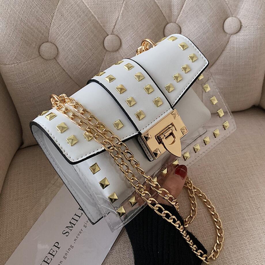 Rivet Square Crossbody Bag 2020 Summer New High Quality PVC Women's Designer Handbag Lock Chain Shoulder Messenger Bag Jelly Bag