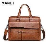 MANET PU Männer Handtasche Retro Männlichen Business Schulter Taschen Vintage Nachricht Umhängetaschen Große Kapazität Laptop Tasche 15 6 Zoll 2021