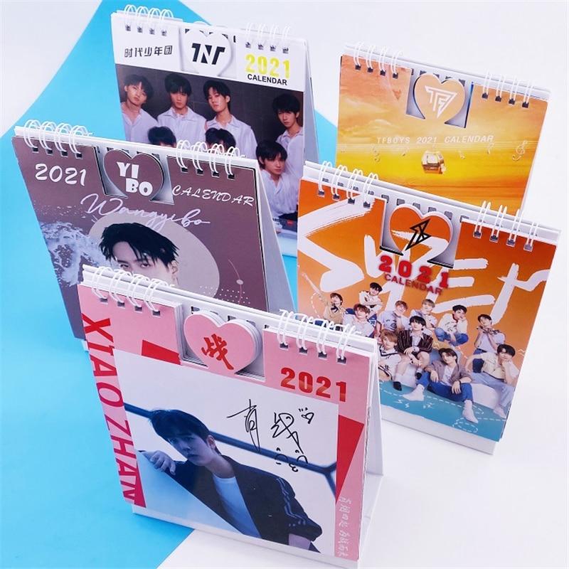 2021 kpop Calendar STRAY KIDS TWICE TREASURE GOT7 SEVENTEEN xiao zhan wang yi bo Photo Desk Calendar Frame Kpop