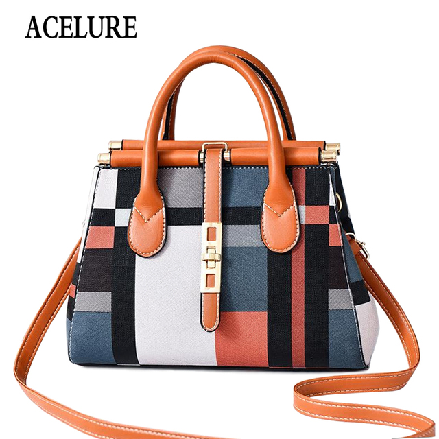 ACELURE Bag Women Handbag Fashion Women Bag PU Leather Tote Bag Ladies Designer Patchwork Handbags Female Casual Large Shoulder