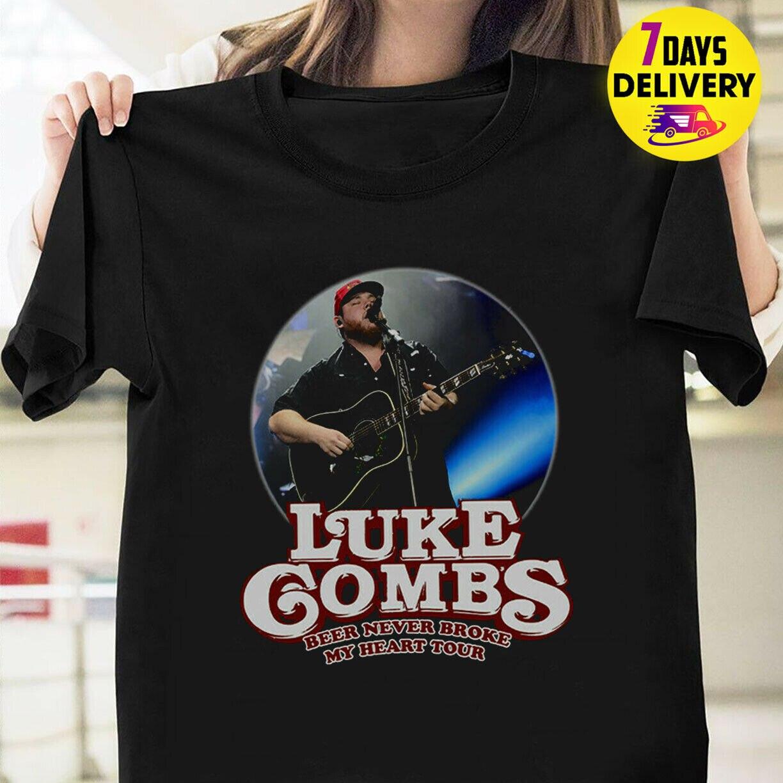 Luke Combs Beer Never Broke My Heart Tour Concert 2019 T Shirt Black Size S 3Xl