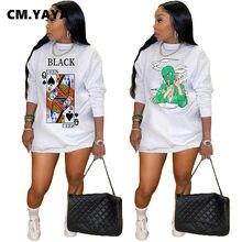 CM.YAYA Frauen Schwarz Königin Poker Karte Cartoon Druck Oansatz Langarm Sweatshirt Stil Mini Kleid