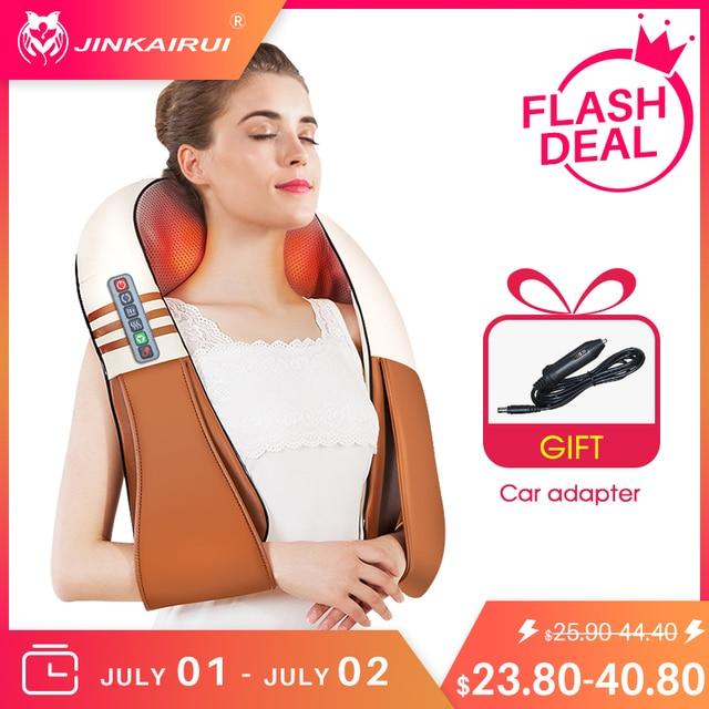 (with Gift Box)JinKaiRui U Shape Electrical Shiatsu Back Neck Shoulder Body Massager Infrared Heated Kneading Car/Home Massagem 1