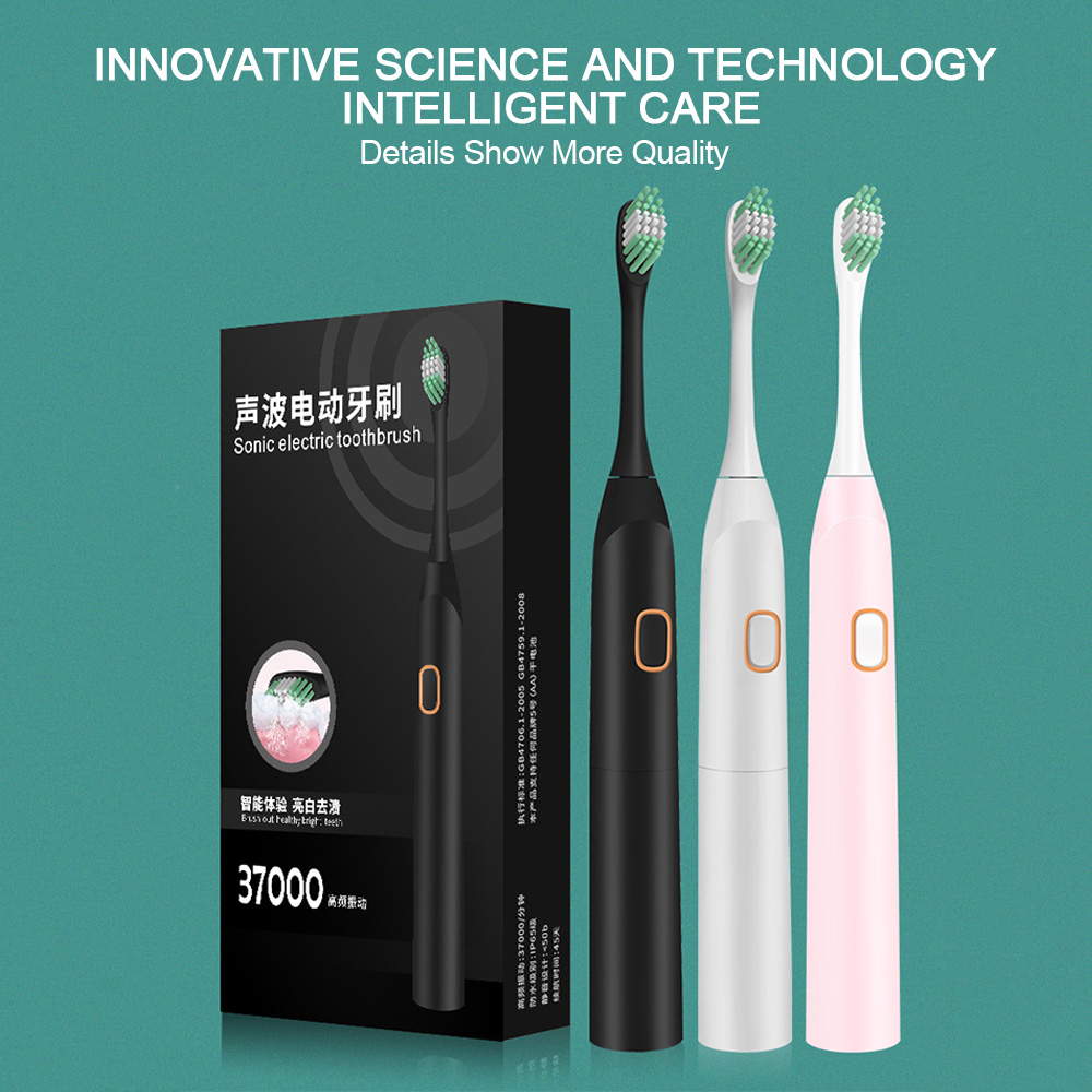 Powerful Electric Toothbrush Battery Washable Electronic Teethbrush with 2 Brush Heads Waterproof Teeth Brush Whitening Tools image