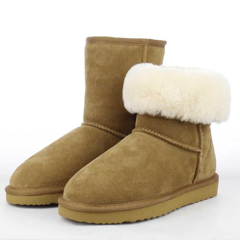 Avustralya klasik su geçirmez hakiki inek derisi deri kar botları kadın çizmeler kadınlar için sıcak kış çizmeler ayakkabı büyük boy 35- 44