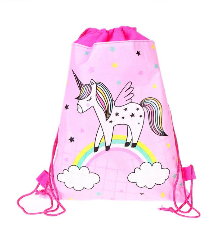 Unicorn Drawstring Bag For Girls Travel Storage Package Cartoon School Backpacks Children Birthday Party Favors 2019 Hot Sale