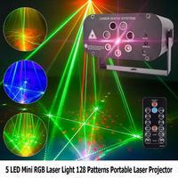Mini RGB Laser Licht 128 Muster Tragbare Laser Projektor für Bühne Disco Magie Ball Wirkung Bühne Lichter Dropshipping
