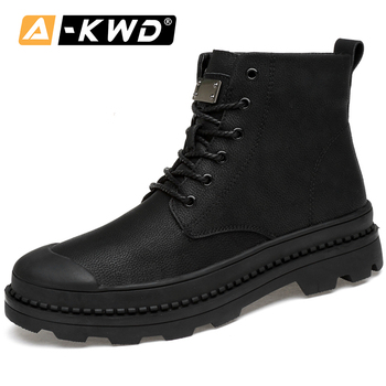 Winter Fur Leather Steel Toe Boots High Quality Boots Man Black Lace-up Men Shoes Winter Boots Keep Warm Army Shoes