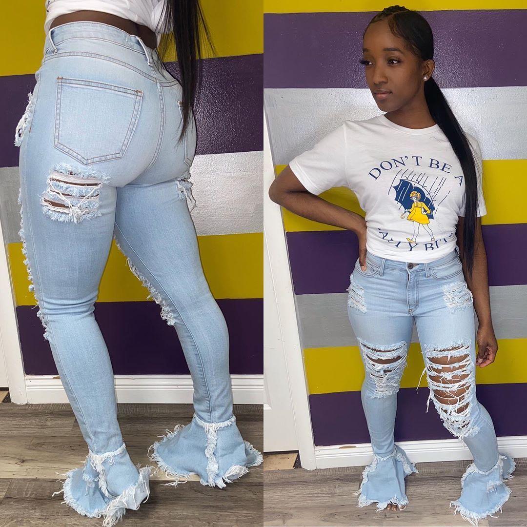 Купить женские рваные расклешенные джинсы с дырками камуфляжные уличные