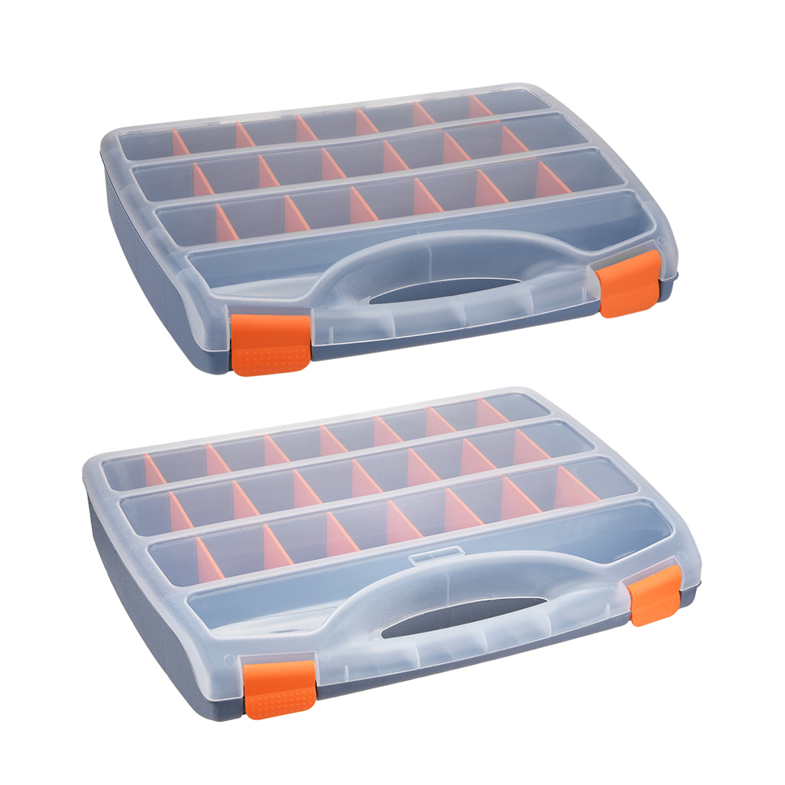 Uxcell 1Pcs Plastic Tool Box With Tray And Organizers Includes Removable 4-32 Small Parts Boxes 12/13/15/18-inch ABS