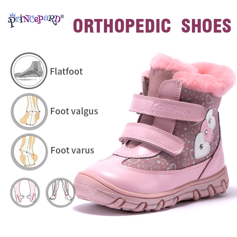 princepard 100 natural pele de couro genuino orhopedic sapatos para meninas 22 28 tamanho rosa inverno