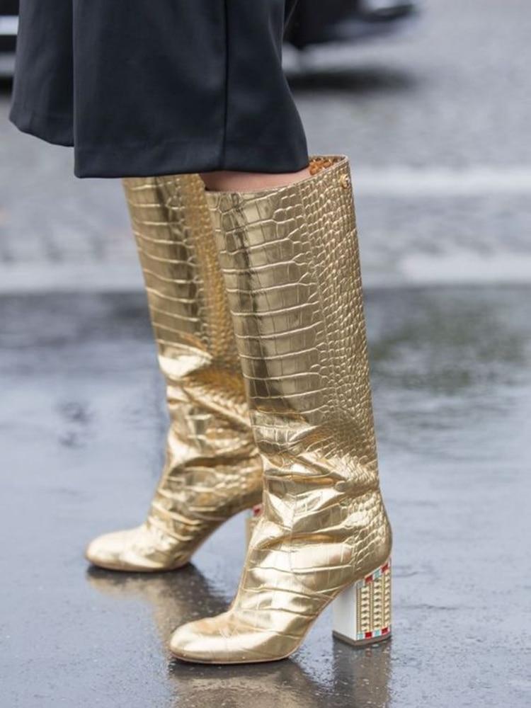 Or cuir cristal bloc talon bottes genou haute amande orteil rue Style robe de mode tenue bottes hiver printemps chaussures dames - 2