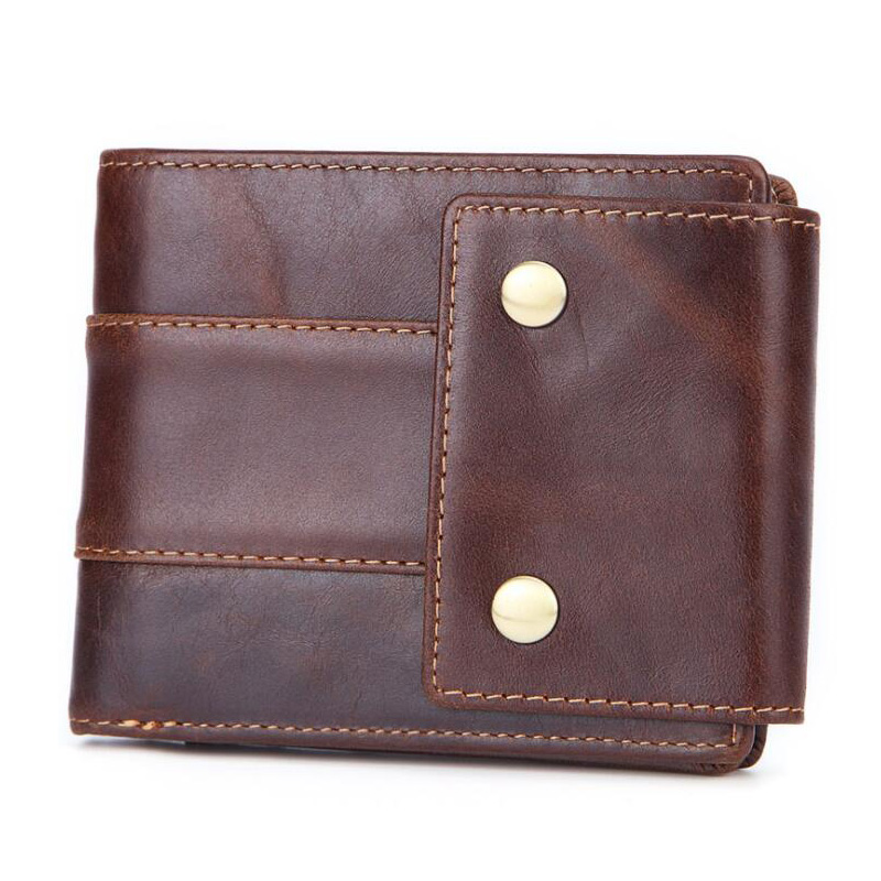 Western Genuine Leather 14 Card Holder Men Short Wallet Retro Rivet Cow Coin Purse