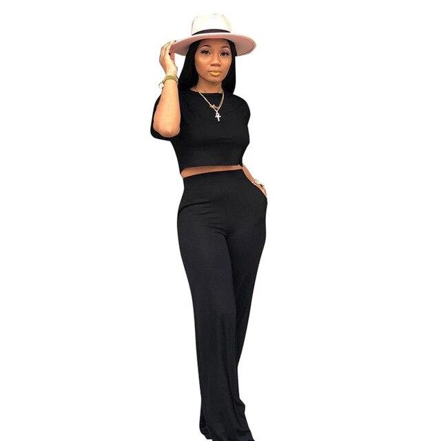 Sexy deux pièces survêtement vêtements dété pour les femmes O cou manches courtes haut court et large jambe pantalon décontracté 2 pièces correspondant ensembles