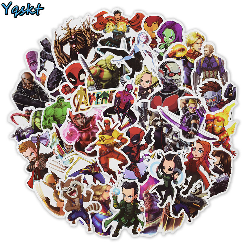 50 Pcs Super Hero Stickers For  Laptop Car Motorcycle Skateboard Luggage Phone Guitar Bike Bumper Decals PVC Waterproof Stickers