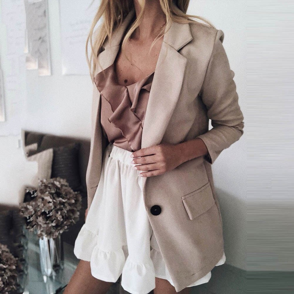 2019 Autumn Casual Blazer Women Basic Notched Collar Solid Blazer Pockets Top Office Ladies Single Button Suit Jackets Plus Size