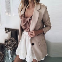 2019 Autumn Casual Blazer Women Basic Notched Collar Solid Blazer Pockets Top Office Ladies Single Button Suit Jackets Plus Size women notched flare sleeve plaid print blazer short casual basic work single button office business blazer outwear british style