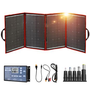 Dokio czarne panele słoneczne 200W (50W x 4pc) 18V chiny składane panele kontrolne 12V bateria słoneczna ładunek samochód kempingowy RV samochód 18V tanie i dobre opinie CN (pochodzenie) Panel słoneczny None 500mmx700mmx24mm FFSP-200W Monocrystalline Silicon 22 50V 18 00V 11 36A 11 12A World-class quality