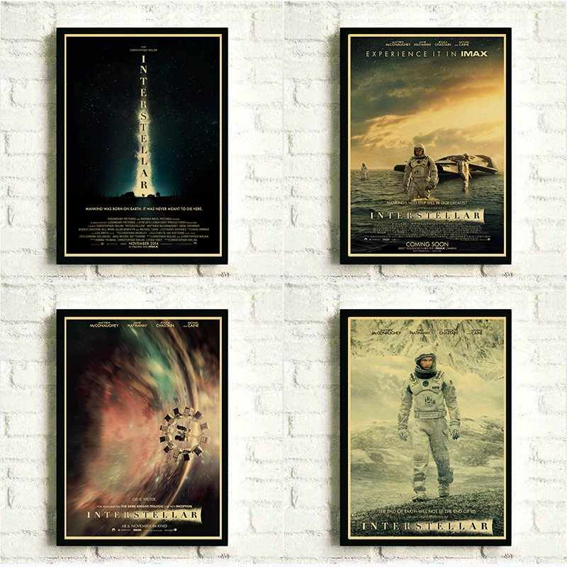 Retro Kraft Manifesti di Film di Carta di Stampa di Christopher Nolan Manifesti di Film Interstellare Poster per la Casa Bar Room Decor Poster Da Parete