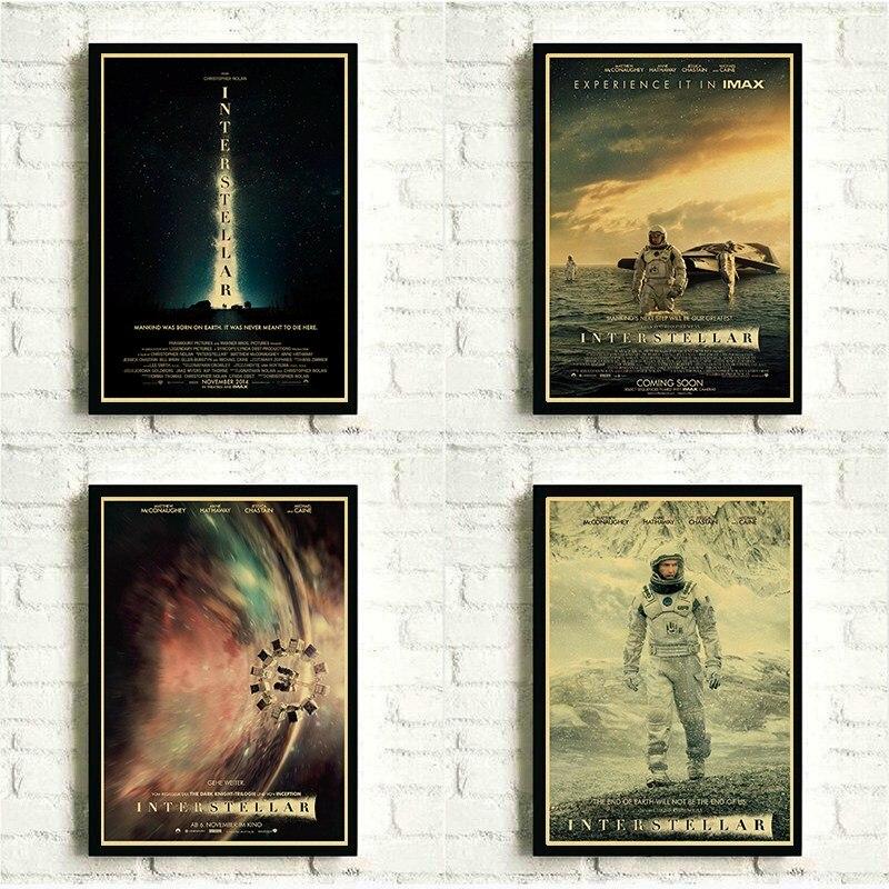Retro papel kraft filme posters impressão christopher nolan filme poster interestelar para casa bar sala decoração da parede cartaz