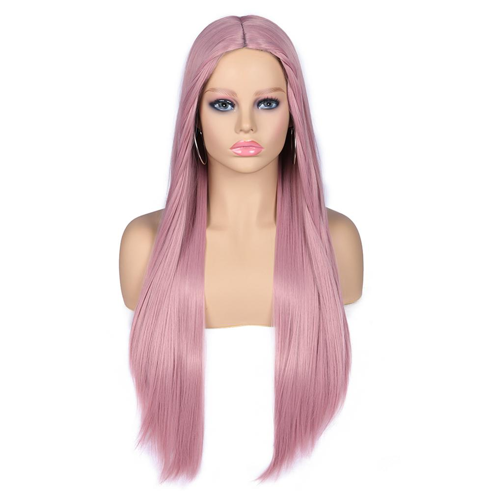 FAVE Long Straight Pure Sakura Pink Synthetic Wigs Heat Resistant FiberFor White /Black American African Wome's Wig Cosplay