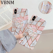 Geometric Marble Kickstand Holder Phone Case for iPhone XR XS Max X 7 8 Plus 6 6s Silicone Case for Samsung S10 S9 S8 Plus Cover phone camera lens 9 in 1 phone lens kit for iphone x xs max 8 7 plus samsung s10 s10e s9 s8