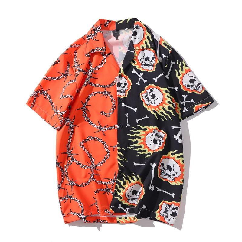Joker Shirt 2020 New Summer Men Hawaiian Short Sleeve Shirt Mens Casual Lightning Skeleton Print Beach Shirts Man Oversized Hemd