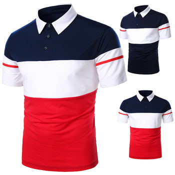 Men Polo Shirt Short Sleeve Contrast Color New Clothing Summer Streetwear Casual Fashion Tops