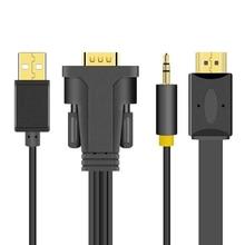 Adaptador de Cable HD de 1M, 2M, 3M, 5M, 15 Pines, VGA, con fuente de alimentación USB, 3,5mm, HDMI 1080P