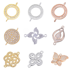 Juya DIY Earrings Supplies For Jewelry Making Paved Zircon Circle Infinity Metal Connector Charms Bracelets Earrings Accessories