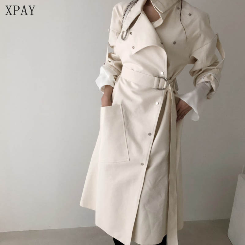 2020 Spring Autumn Loose Stand Collar Wind Coats Elegant Women Long Windbreaker Winter Single-Breasted Belted Trench Coat Female
