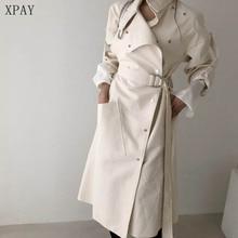 2020 Spring Autumn Loose Stand Collar Wind Coats Elegant Women Long Windbreaker Winter Single-Breast