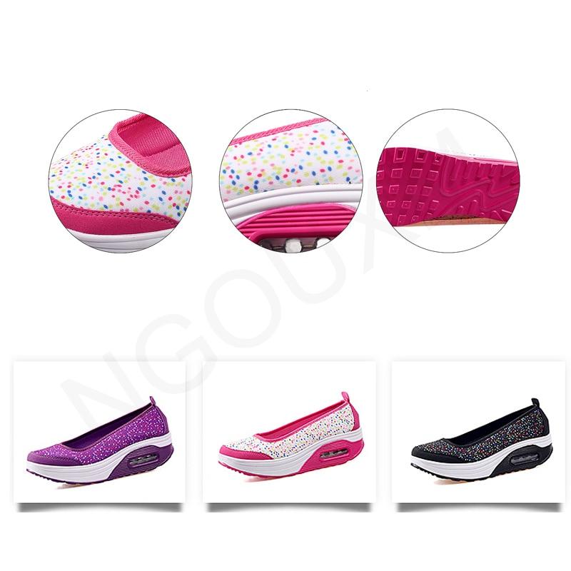 Image 4 - Ngouxm Summer Women Platform Shoes Woman lady Flat Casual Shallow Shoes Slip On Comfort Lace Black Fabric ShoesWomens Flats   -