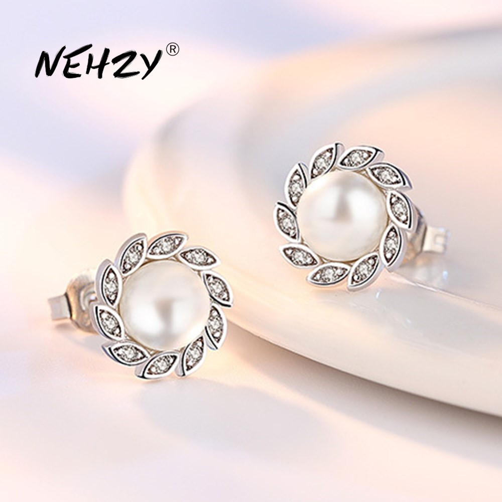 NEHZY 925 Sterling Silver Stud Earrings High Quality Woman Fashion Jewelry New Wind Leaf Crystal Zircon Pearl Hot Sale Earrings