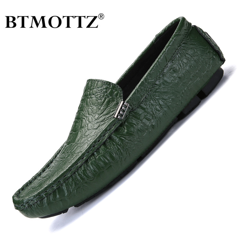 Men's Casual Shoes Luxury Brand 2020 Crocodile Leather Italian Loafers Men Moccasins Slip On Boat Shoes Plus Size 38-47 BTMOTTZ