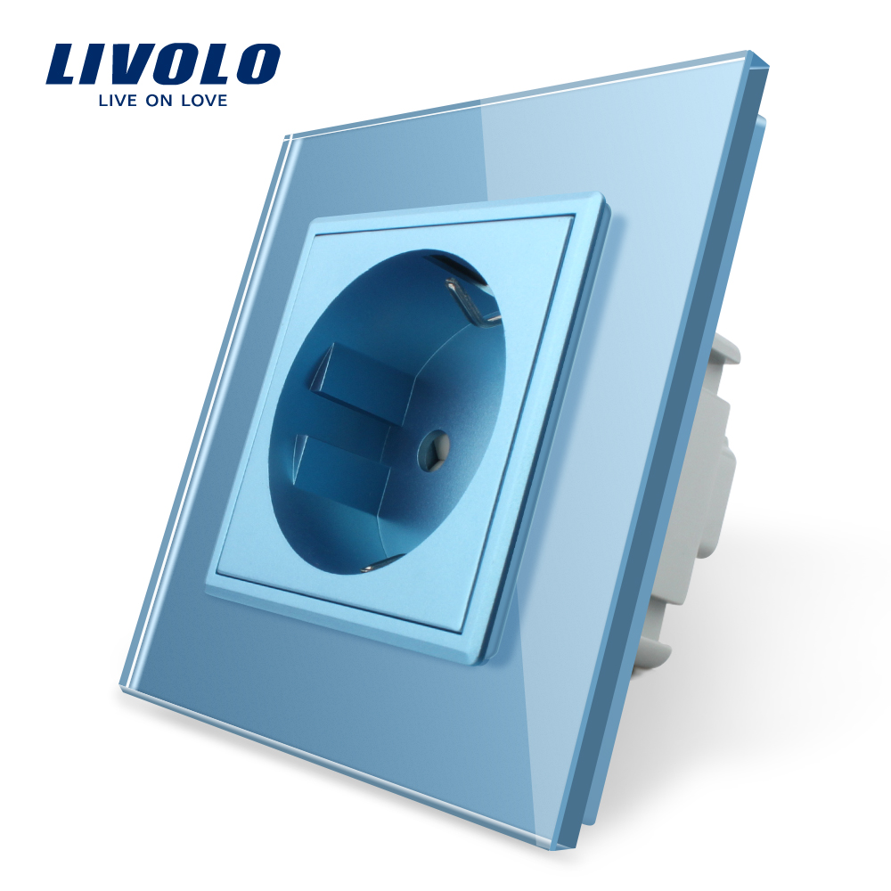 Livolo EU Standard 16A Power Socket, Colorful Crystal Glass Panel, AC 110~250V 16A Wall Power Socket,EU Power Outlet