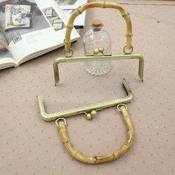 10 Uds por lote tamaño 20 Cm 25 Cm monedero Metal marco de bambú mango bolsa de bolso de bricolaje accesorios de tienda China Online mango de Metal
