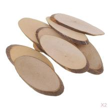 Tree Bark Circles Unpainted Natural Oval Blank Wood Slices (3.35-3.54inch, 20pcs)