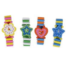 Toy Bracelet Gift Wooden Kids Wristwatches Xmas-Toys Babys Children Student Color Cartoon