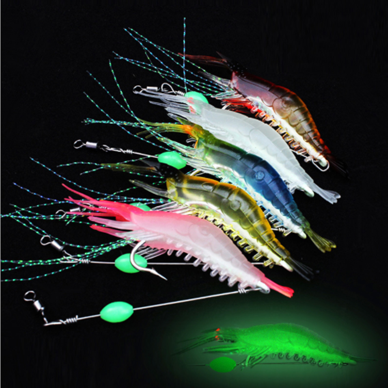 1/5pcs/lot 9cm 6g Luminous Shrimp Silicon Soft  Artificial Bait With Hooks Swivels Anzois Para Pesca Sabiki Rigs Fishing Tackle