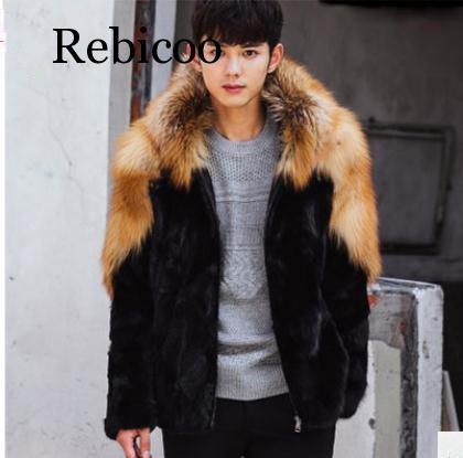New S/6Xl Male Imitation Fur Coats Patchwork Hooded Winter Autumn Warm Patchwork Fur Outwears Plus Size Mens Fur Clothes