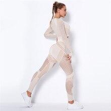 Hollow Out dikişsiz Yoga seti spor kıyafetleri kadın siyah iki 2 parça kırpma üst sutyen tayt egzersiz spor takım elbise spor spor takımı