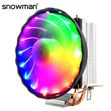 Manusia Salju 2 Panas Pipa CPU Cooler RGB 120 Mm PWM 4Pin I5 PC Tenang untuk Intel LGA 775 1150 1151 1155 1366 AMD AM2 AM3 Kipas Pendingin CPU(China)