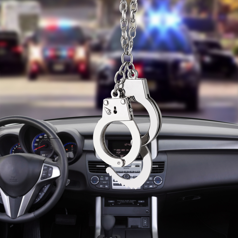 Car Pendant Adjustable police man Hanging Handcuffs Car Interior Ornaments Decoration Rear View Mirror Accessories Car Styling