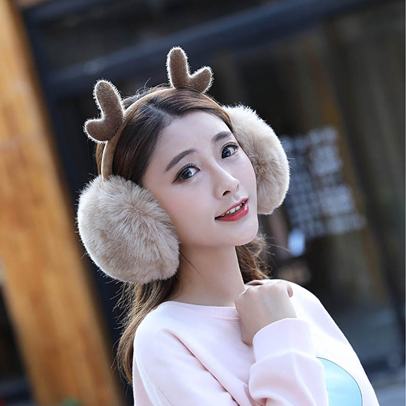 Calymel Women Girls Warm Earmuffs Cute Plush Antlers Earcap Elastic Outdoor Winter Ear Covers Cozy Ear Warmers Fur Headphones