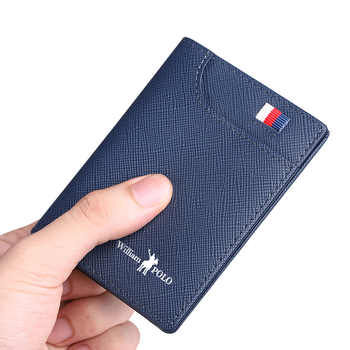 Genuine Leather Men\'s Wallets Thin Male Wallet Card Holder Cowskin Soft Mini Purses New Design Vintage Men Short Slim Wallet